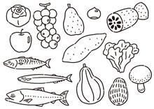 秋の食材 旬の野菜と魚のセット 線のみ