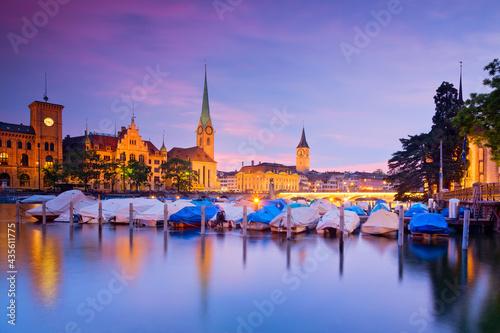 Canvas Skyline von Zürich am Abend, Schweiz