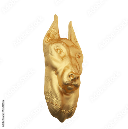 Canvastavla Top view 3d Illustration of a dog standing on hind legs with front paws up in a playful stance and tail out isolated on a white background
