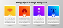 Set Stacks Paper Money Cash, Castle, Hot Air Balloon And Ferris Wheel. Business Infographic Template. Vector