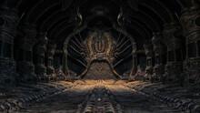 Creepy Alien Underground Cave