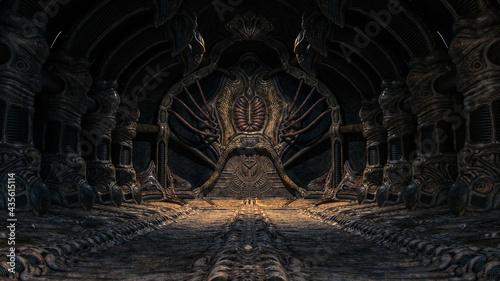 Obraz na plátně Creepy alien underground cave