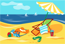 Vector Beach With Waves, Umbrellas, Sunbed, Hat, Ball, Cocktail, Flip Flop, Bag.