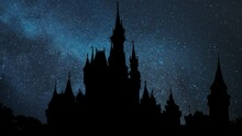 Disney Castle Time Lapse By Night With Stars And Milky Way In Background