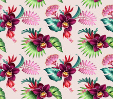 Seamless Floral Pattern With Orchids And Monstera, Assorted Tropical Flowers And Leaves Isolated On Pink Background, Botanical Wallpaper