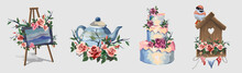 Set With Various Household Items Decorated With Flowers. Cute Little Romantic Pictures With Flowers. Art Easel, Teapot,big Beautiful Cake, Birdhouse. Beautiful Pink Roses.Isolated