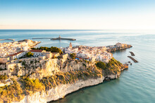 Old Town Of Vieste Perched On Cliffs At Sunrise, Aerial View, Foggia Province, Gargano National Park, Apulia, Italy