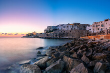 Sunrise Over Vieste Old Town On Headland By The Sea, Foggia Province, Gargano National Park, Apulia, Italy