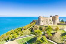 Aerial View Of Castello Aragonese Castle On Headland Above The Sea, Ortona, Province Of Chieti, Abruzzo, Italy