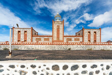 Front View Of Towers And Lantern Dome Of Entallada Lighthouse, Tuineje, Las Palmas, Fuerteventura, Canary Islands