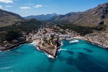 Aerial Of Cala Sant Vicenc, Mallorca (Majorca), Balearic Islands, Mediterranean