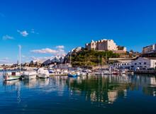 Boats In Port And Saint Francis Monastery, Mahon (Mao), Menorca (Minorca), Balearic Islands, Mediterranean