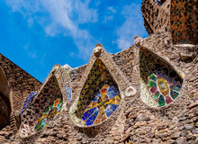 Unfinished Antoni Gaudi Church, Detailed View, UNESCO World Heritage Site, Colonia Guell, Catalonia
