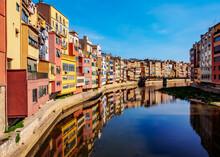 Colourful Houses Reflecting In The Onyar River, Girona (Gerona), Catalonia