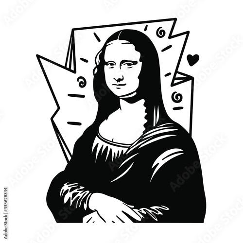 Fotografie, Tablou Leonardo da Vinci's Mona Lisa vector File for cutting vinyl decal