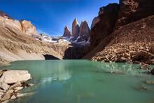 Torres Del Paine Base And Glacier, Torres Del Paine National Park, Ultima Esperanza Province, Magallanes And Chilean Antactica Region, Patagonia, Chile