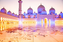 The Sheikh Zayed Grand Mosque, The Largest Mosque In The Country, In Abu Dhabi, Capital City Of The United Arab Emirates, Middle East