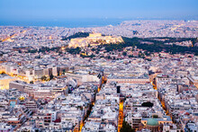Aerial View Of The Acropolis And The City Of Athens, Attica, Greece