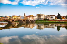 Bridge Reflected In The River Arno, Florence, Tuscany, Italy