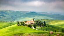 Farmhouse In Green Summer Landscape Near Crete Senesi, Tuscany, Italy