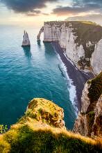 Les Falaises (cliffs) Of Etretat At Sunrise, Etretat, Normandy, France