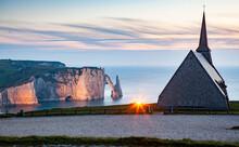 Notre-Dame De La Garde Chapel And Porte D'Aval In The Background, Etretat, Normandy, France