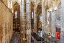 Interior Of Jeronimos Monastery (Hieronymites Monastery), Church Of Santa Maria Del Belem, With Pillars, UNESCO World Heritage Site, Lisbon, Portugal