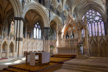 The 14th Century Angel Choir And High Altar Of Lincoln Cathedral, Lincoln, Lincolnshire, England, United Kingdom