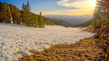 The Slopes Of Arizona Snow Bowl Facing West Close To Sundown, Coconino National Forest Near Flagstaff, Arizona