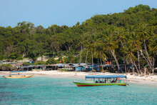 Tourist Dive Boat Moored By White Sand Bira Beach At Far South Resort Town, Tanjung Bira, South Sulawesi, Indonesia