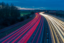 View Of Traffic Trail Lights On M1 Motorway Near Chesterfield, Derbyshire, England, United Kingdom
