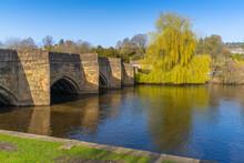 View Of Bridge Over River Wye, Bakewell, Peak District National Park, Derbyshire, England, United Kingdom