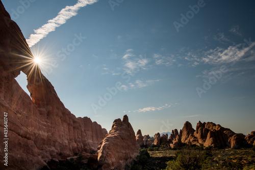 Canvas Print Arches National Park dramatic landscape at sunset