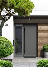 Eingang Mit Haustür Mit Seiten Eines Modernen Einfamilienhauses Mit Holzvertäfelung Und Vorgarten