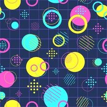 Modern Seamless Pattern With Colorful Circles And Disks. Repeat Background With Abstract Round Objects. Fashion Texture With Yellow, Blue And Pink Geometry.