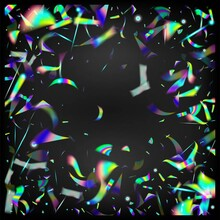 Silver Transparent Falling Particles.  Gradient Overlay Neon Foil Tinsel. Rainbow Tinsel. Holo Glitch Effect Rainbow Lights. Flying Holograph Confetti. Blue, Purple, Green Celebration Background.