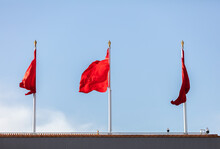 """Tian 'anmen Square, The Gate Of Tian 'an. Chinese Characters On The Red Wall Read: """"Long Live China And The Solidarity Of The People Of The World."""" Beijing, China."""