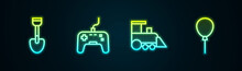 Set Line Shovel Toy, Gamepad, Toy Train And Balloons With Ribbon. Glowing Neon Icon. Vector