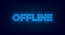 Hologram Offline Twitch Banner. Glowing Offline Title With Hologram Effect For Streaming Screen. Stream Gaming Background With Blue Glowing. Vector