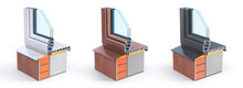 Set Of Windows On The Piece Of Wall. See Structure And Layers. 3d Illustration