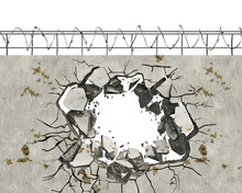 A Hole With Blowing Pieces In Wall With Barbed Wire, Escape Concept, 3d Illustration
