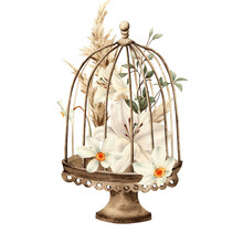 Cage With Flowers, Flower Arrangement, Can Be Used As Invitation Card For Wedding, Birthday And Other Holiday And Summer Background. Botanical Art. Watercolor