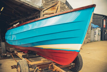 Old Fishing Boat, Just Been Painted In A Shed.