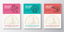 Seafood Vector Packaging Design Or Label Templates Set. Ocean And Sea Products Banners. Modern Typography And Hand Drawn Lobster, Squid Crab And Mussel Shell Silhouettes Backgrounds Layout Collection.