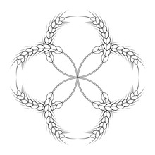 Round Wheat Wreath And Ornament. Black And White Outline. Design Template For Packaging, Labels, Prints And Other Ideas. Vector Illustration And Drawing.