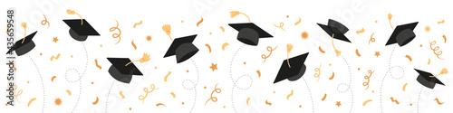 Tela Graduation Class of 2021 with black graduate caps and gold confetti, ribbon