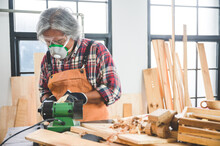 Professional Carpenter Man Working With Woodwork Industry Tool Construction, Craftsman Person Workshop With Timber And Equipment Wood Work