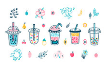 Vector Cute Bubble Tea Set. Plastic Takeaway Cups. Summer Pearl Milk Beverage And Fruits, Flowers, Leaves. Boba Tea Drinks With Tapioca