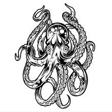 Octopus Drawing Seafood Ocean Logo Vintage Vector Illustration
