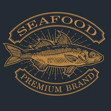 Fish  Seafood Ocean Logo Vintage Annimal Vector Illustration